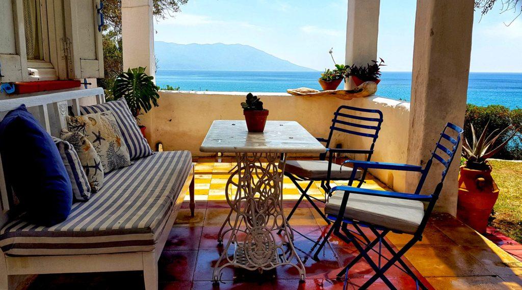 Blue maisonette Sea view Traditional Loukoulos Samos Kampos Marathokampos House Host Hotel Summer Balcony